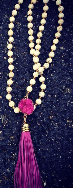 Purple druzy tassel necklace by DaniRaeCompany on Etsy, $50.00
