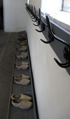 Wooden shoes in an old dutch classroom...