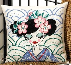 Buy Geisha in Blue Cushion Front Cross Stitch Kit Online at www.sewandso.co.uk