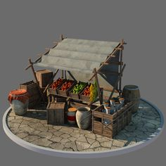 This is a High polygon model of a market stall. Extremely detailed and realistic. Suitable for movie prop, architectural visualizations, advertising renders and other. Medieval Market, Medieval Houses, Medieval Town, Vitrine Miniature, Miniature Rooms, Miniature Houses, Environment Concept Art, Environment Design, Minis