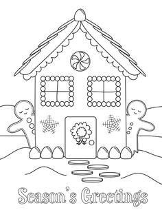 Season Greetings Gingerbread House And Men Coloring Page