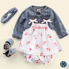Layer a denim jacket over this sweet watermelon set. It's almost too sweet to handle.