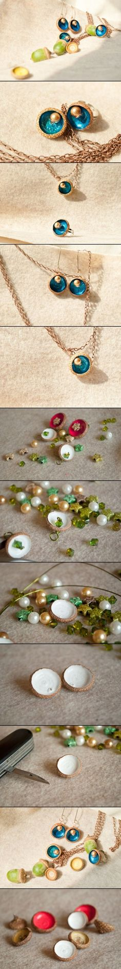 DIY Necklace Of Acorns