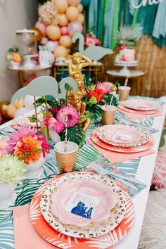 Check out this gorgeous tropical safari wild one!! The cake will blow your mind! See more party ideas and share yours at CatchMyParty.com #catchmyparty #partyideas #tropicalparty #tropical #wildone #girl1stbirthdayparty
