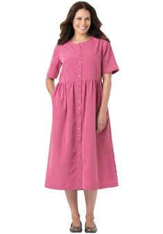 Dress in silky peachskin has empire waist, button front | Plus Size Casual Dresses | Woman Within