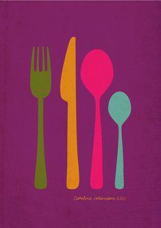 kitchen prints by carolinejohansson Kitchen Prints, Kitchen Art, Food Illustrations, Illustration Art, Color Of Life, Layout Inspiration, Diy Art, Artsy Fartsy, Food Art