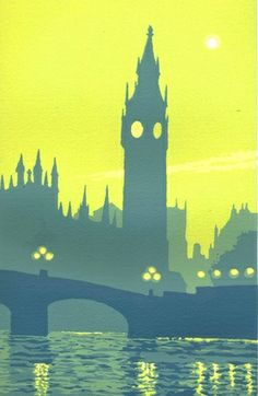 ARTFINDER: Westminster 2 by Ian Scott Massie - A five colour hand made screen print on rough paper of the view from the south bank looking towards Westminster in London. Westminster Abbey is in silh. Kids Painting Projects, Art Projects, Perspective Atmosphérique, Painting & Drawing, Watercolor Paintings, Environment Concept Art, London Art, Elements Of Art, Teaching Art