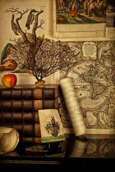 Books and vintage map...yes!