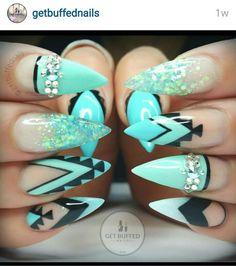 Beautiful topaz blue and black nail art
