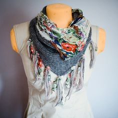 Reversible Floral/Knit Scarf