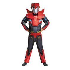 Kids Transformers Robots in Disguise Sideswipe Animated Muscle Costume, Boy's, Size: Large, Multicolor