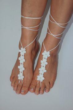 barefoot sandals beach wedding anklet white crochet by craftbyaga