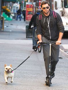 Hugh and his little dog too... And how about writing a scooter with his five finger shoes!! Hugh Jackman, Hugh Michael Jackman, Hugh Wolverine, Famous Dogs, Famous People, National Puppy Day, Z Cam, Australian Actors, French Bulldog Puppies