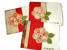 """Cards, Handmade Stamped Greeting Cards Stamped with """"A Note for You"""" and Floral Embellishments. $9.00, via Etsy."""