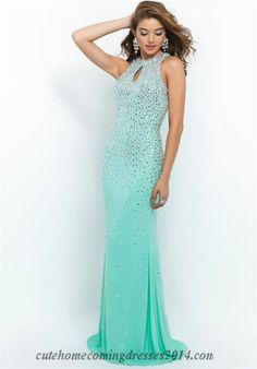Blush 9943 Bead Keyhole Mint Green Halter Prom Dresses