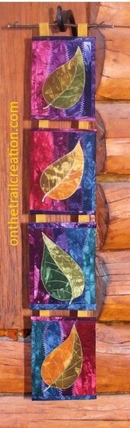 quilted leaf wall hanging, $40, Beret Nelson, On the Trail Creations
