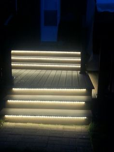 Outdoor LED Lighting under stairs to light up the night! Warm white flexible strips were used to create this beautiful effect Toe kick lights are easy to install and provide soft accent LED lighting for night time safety Deck Lighting, Lighting Design, Lighting Ideas, Led Step Lights, Solar Lights, String Lights, Living Pool, Outdoor Steps, Patio Steps