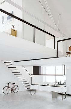 white and black loft