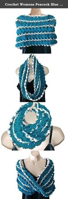"Crochet Womens Peacock Blue White Shawl, Spring Poncho, Shoulder Warmer Teal Capelet Cape Fashion Wrap Shawlette Mobius Scarf Handmade Stole Hand Made Formal Elegant Wrap. This beautiful womens teal and white crochet capelet is both versatile and elegant. Imagine yourself wearing this ladies elegant autumn fashion wrap with evening attire or jeans and a sweater. The color of this wrap is peacock and white. Wear it as a cowl scarf or double it for extra warmth. It measures 15"" long x 22""..."