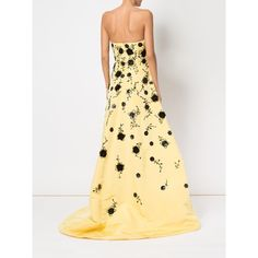 Oscar de la Renta sequinned flowers strapless gown ($13,897) ❤ liked on Polyvore featuring dresses, gowns, sequin dresses, flower dress, sequin gown, silk evening gowns and sequin evening dresses
