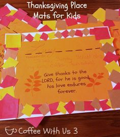 Thanksgiving placemats for kids to make with free printable. Printable includes space to put their name what they are thankful for and Bible verse about giving