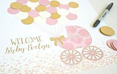 This Pink and Gold Baby Shower Guest Book Alternative is the perfect addition to your pink and gold baby girl shower decor Let guests leave a lasting memento by signing a balloon to complete the pink and gold carriage print.  The text will be personalized to read WELCOME __PERSONALIZATION__ . The bow on the carriage is made out of gold glitter card stock to add a touch of sparkle I can always customize colors or text BALLOONS DO NOT COME ATTACHED. GLUE DOTS NOT INCLUDED. BALLOONS ARE 1.25… Girl Baby Shower Decorations, Girl Decor, Pink And Gold Decorations, Gold Nursery Decor, Pink Gold Party, Gold Baby Showers, Baby Shower Signs, Girl Shower, Shower Gifts