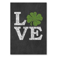 St Patricks Day LOVE with shamrock Table Card