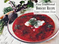 Borscht Recipe- How to Make Mom's Traditional Ukrainian Borscht I browned and added 1 lbs of stewing beef just to make it more of a meal in itself. I let it braise in the broth for 45 minutes - 1 hour before serving. Ukrainian Recipes, Russian Recipes, Russian Dishes, Ukrainian Food, Soup Recipes, Cooking Recipes, Healthy Recipes, Healthy Food, Recipies