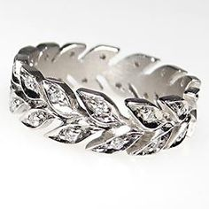 Wreath Motif Estate Eternity Style Diamond Wedding Band Ring Solid Platinum
