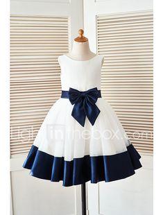 Ivory satin flower girl dress with navy blue beltbow satin trapze mi long robe de demoiselle dhonneur fille satin tulle sans manches mightylinksfo
