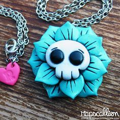 Skull Flower Rose Necklace by rapscalliondesign on Etsy, $18.48