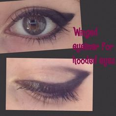 I love this technique for winged eyeliner on hooded eyes. Xx