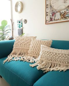 Macrame Wall Hanging Patterns, Macrame Patterns, Cushion Covers, Diy Cushion, Boho Cushions, Macrame Design, Macrame Projects, Throw Pillows, Magnolias