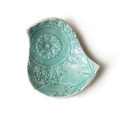 ceramic bird bowl seafoam soft turquoise pottery vintage lace texture soap dish candle or ring holder home decor gift for her under 25. $23.00, via etsy.