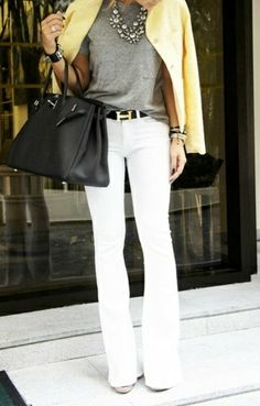 love this outfit! flare white pants and grey tee with statement necklace.