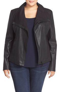 T Tahari Drape Collar Featherweight Leather Jacket (Plus Size)