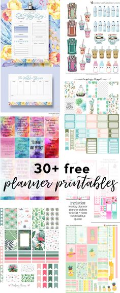 With over 30+ planner printables, this post has you and your Happy Planner covered! From floral to geometric to kawaii, there's something for everyone!   Planner printables are a super t…