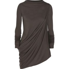 Rick Owens Asymmetric draped jersey top (910 BRL) ❤ liked on Polyvore featuring tops, mushroom, rick owens top, drape top, viscose tops, rick owens and draped jersey top