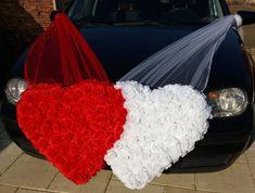 #inima_dubla_red #publiserv Wedding Car Decorations, Weddings, Red, Wedding, Marriage