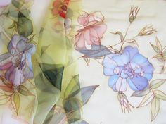 Long silk chiffon scarf Hand painted Spring fashion Lime by DEsilk, $75.00