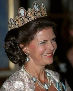 Queen Silvia of Sweden with the Cameo tiara parure