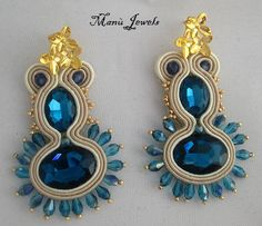 orecchini soutache blu beige