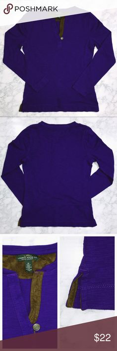 🌺🆕 Women's LS LRL Lauren Jeans Co. Henley 🌺🆕 Women's LS LRL Lauren Jeans Co. Henley   Unique Lauren Ralph Lauren purple Henley style pullover with brown suede lined V-neck with button closure. V-openings on each side also suede lined. EUC. 100% Cotton. Size: Medium.   Thank you for stopping by my closet. Please let me know if you have any questions. :-) GM Lauren Ralph Lauren Tops Tees - Long Sleeve