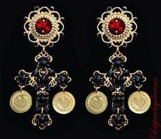 Baroque Style Black Red Crystal Filigree Gold Cross Earrings Swarovski Earrings #Handmade #Chandelier