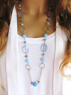Collar largo azul collares largos collares de por RalstonOriginals
