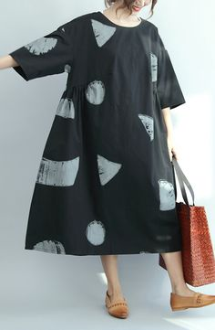 Black Dotted Rocks Summer Dresses Cotton Sundress Plus Size Clothing Maternity Dress