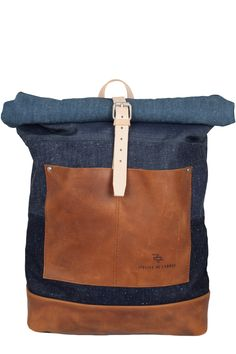 patchwork selvage denim leather roll top rucksack