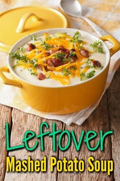 Try making this delicious soup using those leftover mashed potatoes. It is a certain family pleaser. This is a guide about leftover mashed potato soup. Leftover Mashed Potato Soup Gloria Bohn globohn Recipes Try making this delicious soup using tho Mashed Potato Soup, Instant Mashed Potatoes, Mashed Potato Recipes, Soup Recipes, Cooking Recipes, Irish Potato Soup, Chicken Potato Soup, Cooking Ideas, Drink Recipes