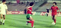 Portugal 1 Spain 1 in 1984 in Marseille. Fernando Chalana ponders what to do in as Portugal come forward in Group B at Euro '84.