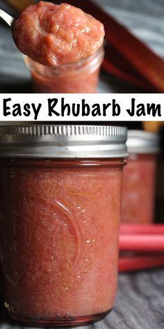 Rhubarb Jam ~ Three Ways! Raspberry Rhubarb Jam, Rhubarb Jelly, Rhubarb Juice, Rhubarb Preserves, Rhubarb Freezer Jam, Freezer Jam Recipes, Jelly Recipes, Rhubarb Jam Recipes Canning, Rhubarb Jam Recipes Easy